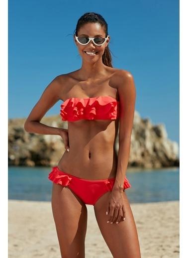 Marie Claire Fırfırlı Straplez Bikini Kırmızı